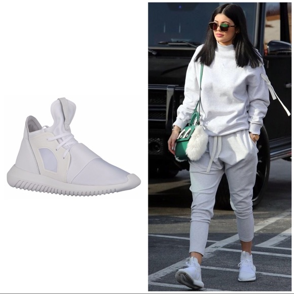 adidas Shoes - ALL WHITE ADIDAS TUBULAR DEFIANT KYLIE JENNER 7 d2ef75c2913a